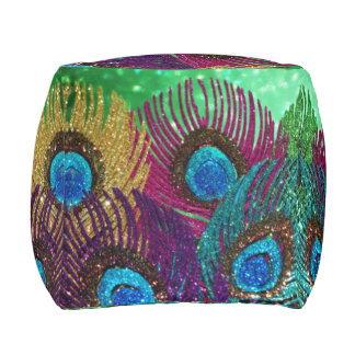 Colorful Peacock Feathers Pouf