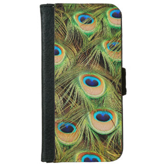 Colorful peacock feathers print iphone wallet case