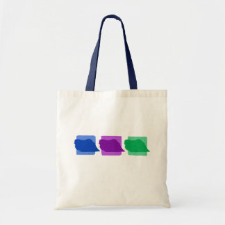 Colorful Pekingese Silhouettes Tote Bag