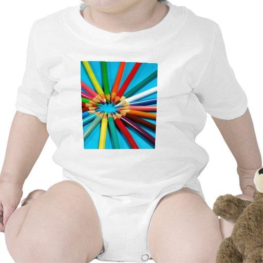 Colorful pencil crayons pattern shirts
