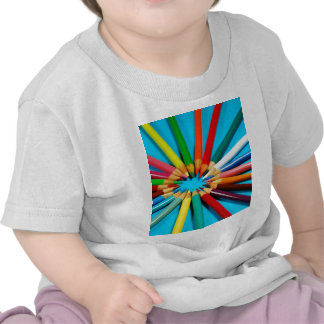 Colorful pencil crayons pattern t shirt