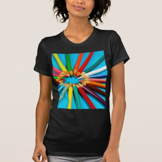 Colorful pencil crayons pattern t-shirt