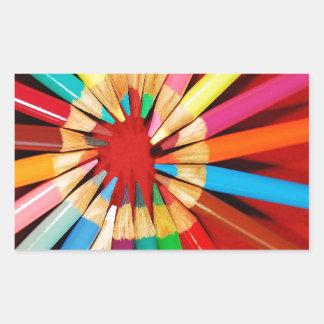 Colorful pencil crayons print rectangular sticker