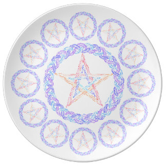 Colorful Pentagram Symbol Pagan Wicca New Age Plate