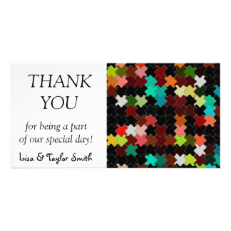 Colorful pieces on a black background customised photo card