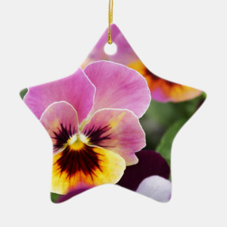 Colorful Pink and Yellow Pansy Flower Ceramic Star Decoration
