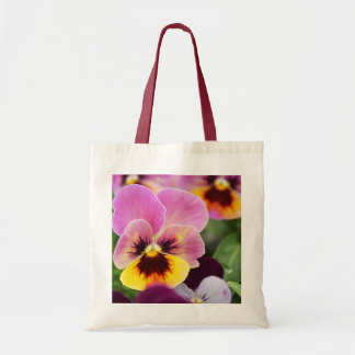 Colorful Pink and Yellow Pansy Flower Tote Bag