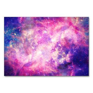 Colorful Pink & Blue Galaxy Nebula Table Card