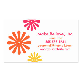 Colorful Pink Orange and Yellow Flowers Pack Of Standard Business Cards