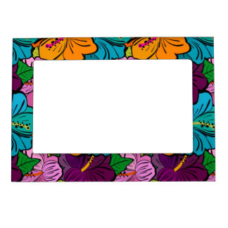 Colorful Playful Multi-Colored Hibiscus Picture Frame Magnet
