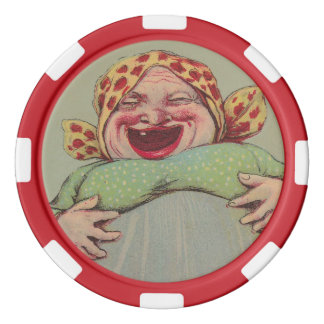 Colorful Poker Chips Crazy Fun Laughing Lady