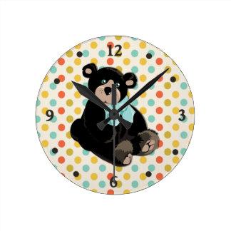 Colorful Polka Dot and Teddy Bear Wall Clock