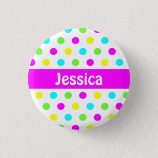Colorful Polka Dots - Kids Name Button