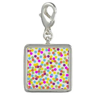 Colorful Polka-Dots on White Design Charm Bracelet