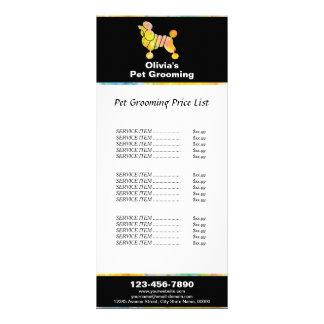 Colorful Poodle Pet Grooming Price List Rack Card