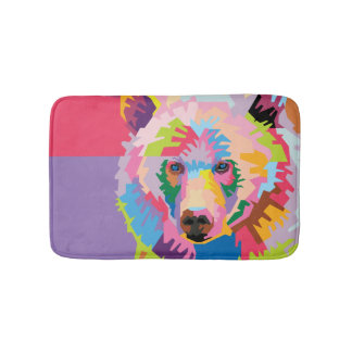 Colorful Pop Art Bear Portrait Bath Mat