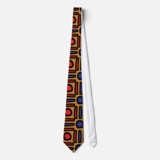 Colorful Primitive Design Tie - Tan-Orange-Blue