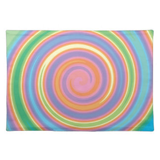 Colorful psychedelic pinwheel swirl design placemat