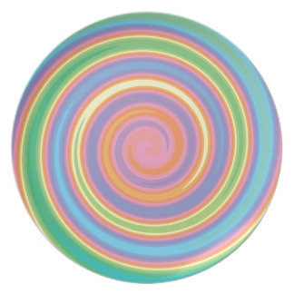 Colorful psychedelic pinwheel swirl design plate