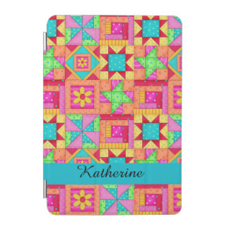 Colorful Quilt Patchwork Block Name Personalized iPad Mini Cover