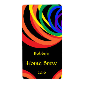 Colorful Rainbow Crescent Beer Label