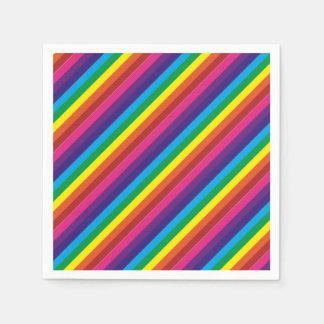 Colorful Rainbow Stripes Pattern Party Supplies Disposable Napkins
