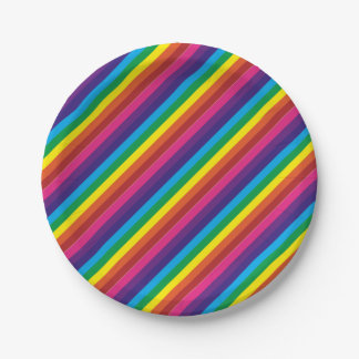 Colorful Rainbow Stripes Pattern Party Supplies Paper Plate