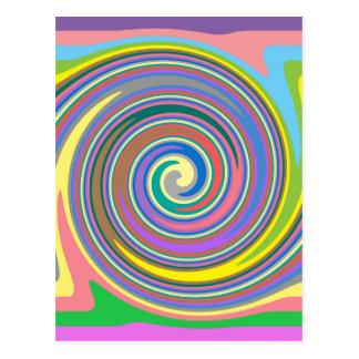Colorful rainbow swirl pattern postcard
