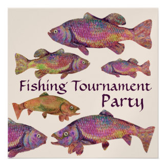 COLORFUL RAINBOW TROUT FISHING TOURNAMENT PARTY PERSONALIZED INVITES