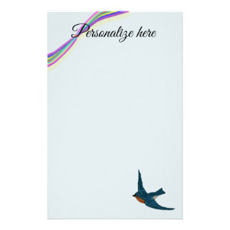 Colorful Rainbow with Bluebird Stationery