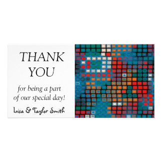 Colorful rectangles pattern customised photo card