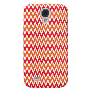 Colorful Red and Orange Chevron Zigzag Pattern Galaxy S4 Case