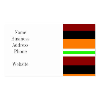 Colorful Red Orange Green Black Striped Pattern Pack Of Standard Business Cards