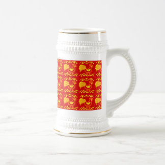 Colorful Red Yellow Orange Rooster Chicken Design Coffee Mug