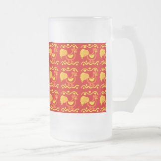 Colorful Red Yellow Orange Rooster Chicken Design Glass Beer Mugs