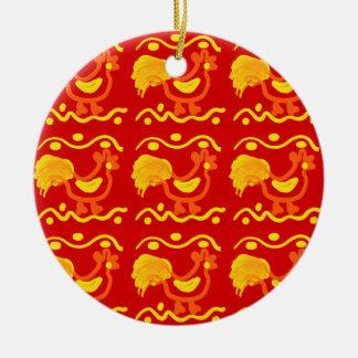 Colorful Red Yellow Orange Rooster Chicken Design Round Ceramic Decoration