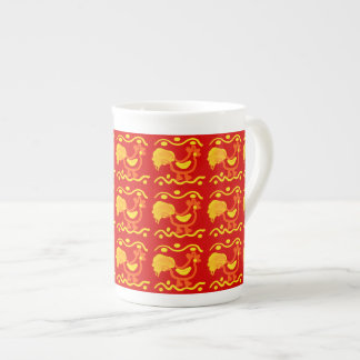 Colorful Red Yellow Orange Rooster Chicken Design Bone China Mugs