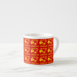 Colorful Red Yellow Orange Rooster Chicken Design Espresso Mugs