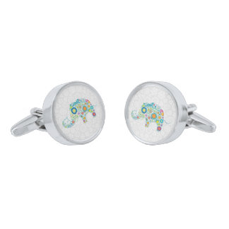Colorful Retro Floral Elephant Silver Finish Cuff Links
