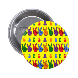 Colorful Retro Hand Peace Sign Pinback Buttons
