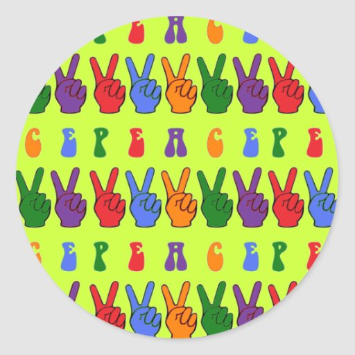 Colorful Retro Hand Peace Sign Round Stickers