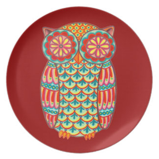 Colorful Retro Owl Plate