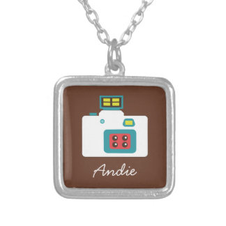 Colorful Retro Toy Camera (White / Brown / Blue) Silver Plated Necklace