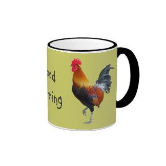 "Colorful Roosters ""Good Morning"" Coffee Mug Ringer Mug"