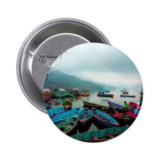 Colorful Row Boats on Phewa Lake in Pokhara Nepal 6 Cm Round Badge
