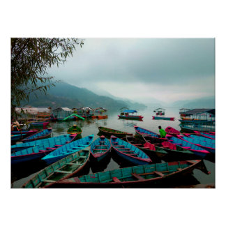 Colorful Row Boats on Phewa Lake in Pokhara Nepal Poster
