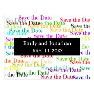 """Colorful """"Save the Date"""" with Photo - Post Card"""