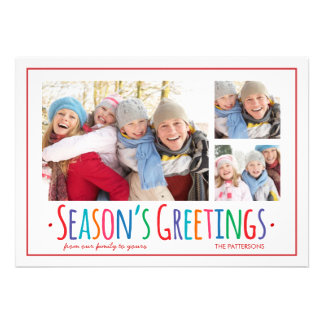 Colorful Season s Greetings 3 Picture Photo Card