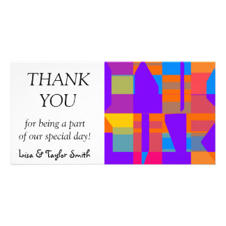 Colorful shapes abstract design photo card