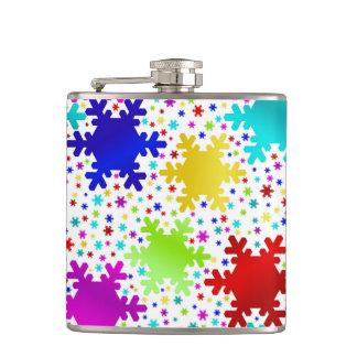 Colorful Shiny Snowflake Pattern Hip Flask